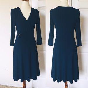Lauren Ralph Lauren Navy Jersey Faux Wrap Dress